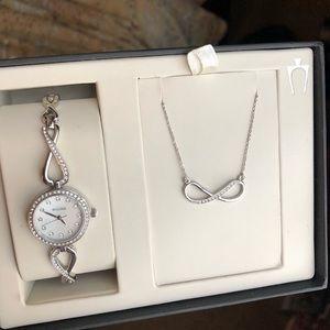 Bulova infinity watch & necklace set